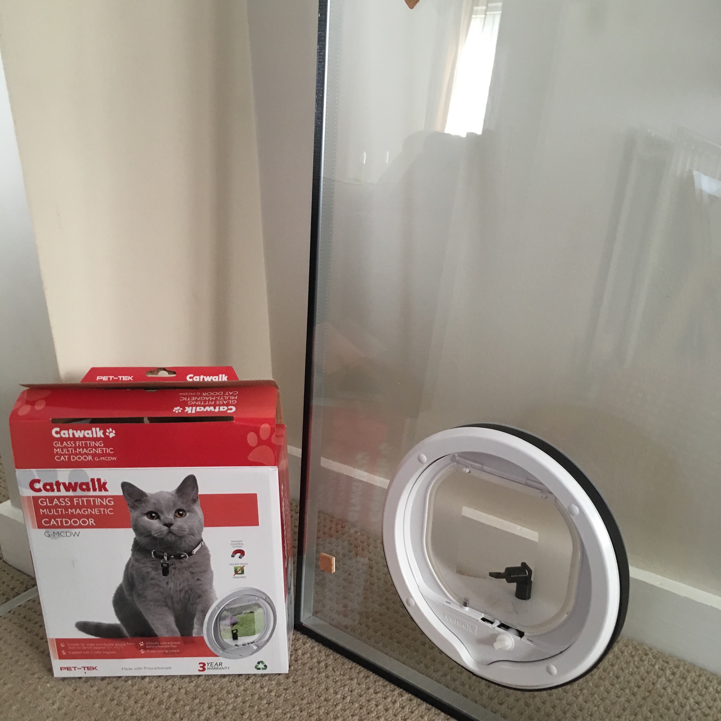 Cat Flap Fitted Into Double Glazing Glass Patio French